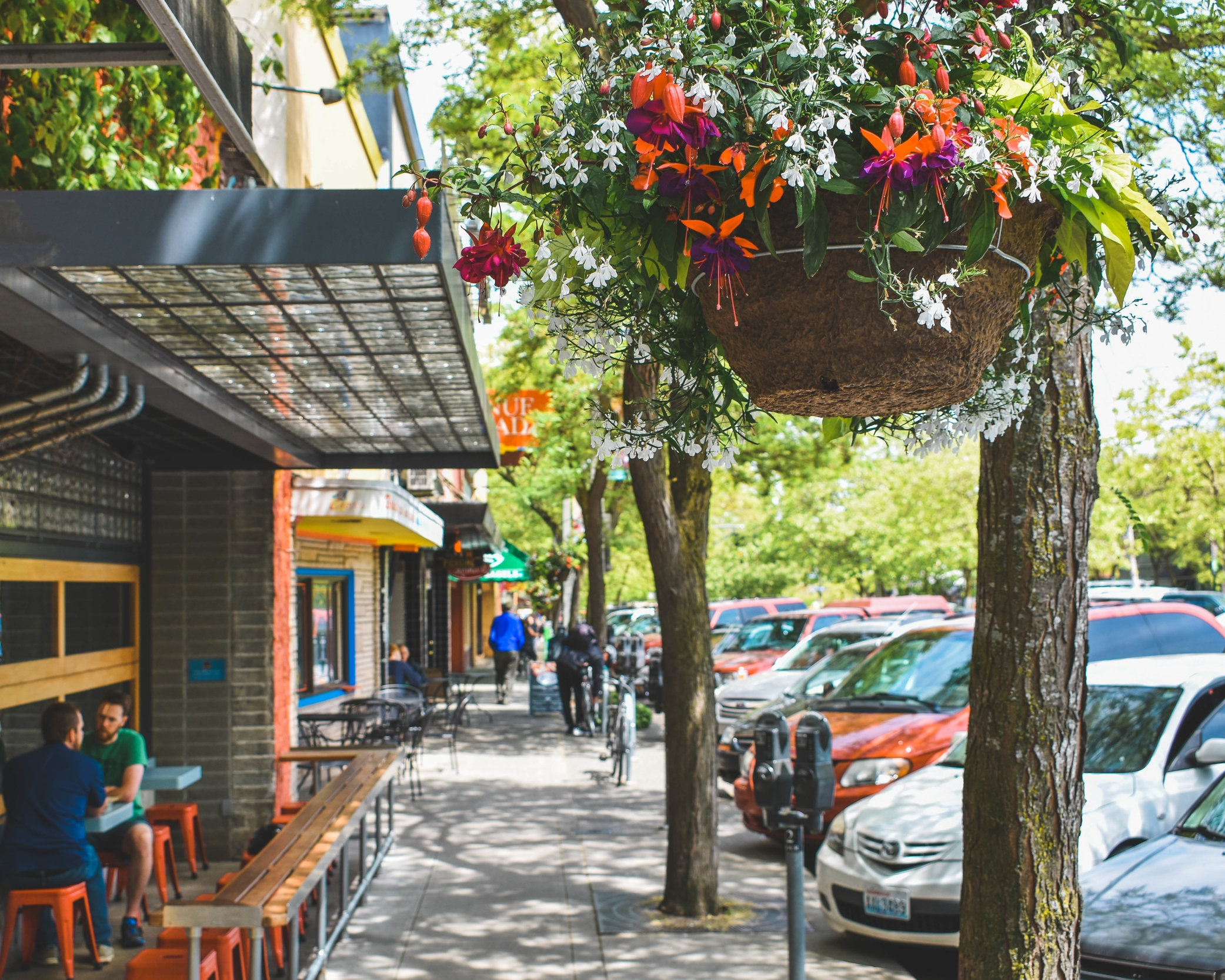 Hanging baskets and street-level planters are maintained by DBP landscaping programs.