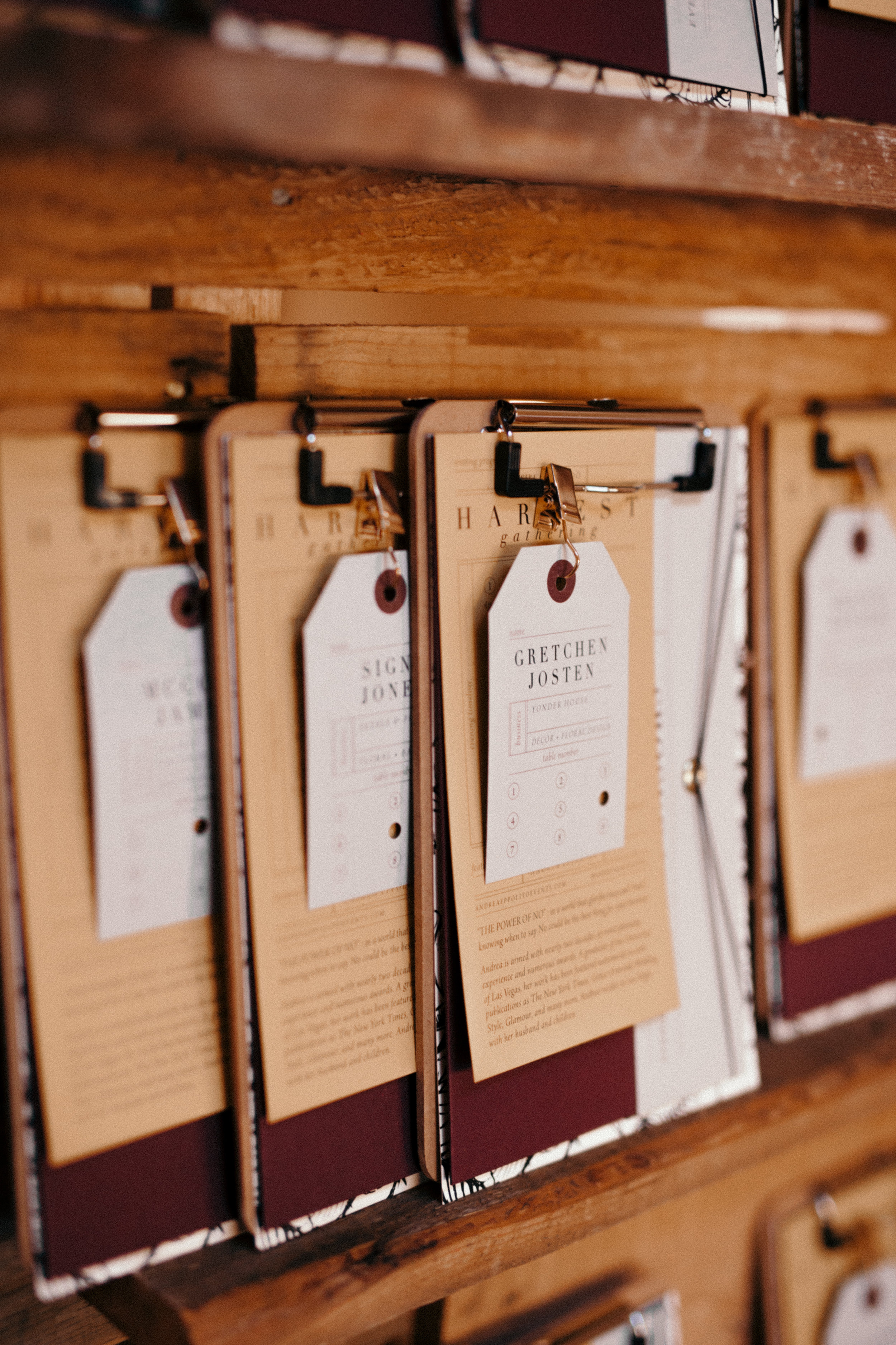 Each escort clipboard included a list of the event sponsors, detailed itinerary for the evening and an hole punched escort card with seat information.