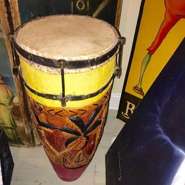 This item is a #hand carved #vintage #bongo! Perfect for a musician's gift! Dm us or email us at info@kkentertainment.com for more info!