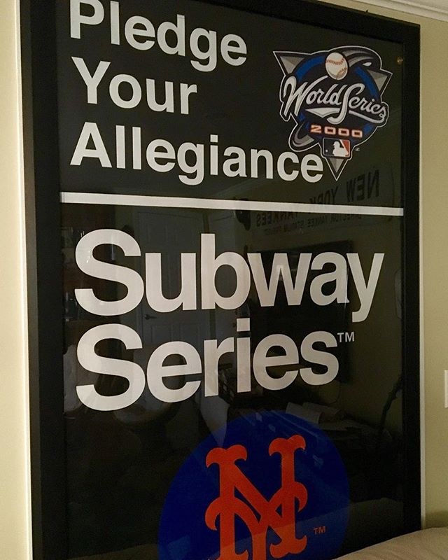 This originally hung in TIMES SQUARE! It is the 2000 Subway Series Mets VS Yankees banner. This values at $1200. Perfect for any baseball fan and makes a statement in every room! #subwayseries #baseball #timessquare #NYC #mets #yankees