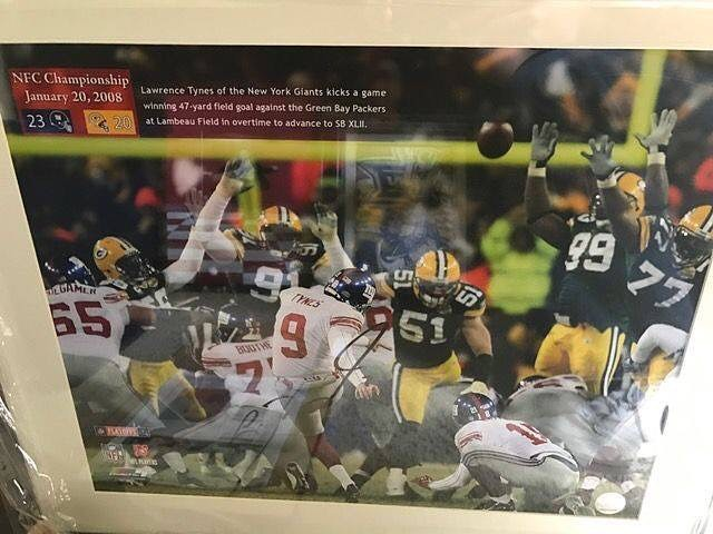 This is a #LawrenceTynes signed #NYGiants 16x20 photo. This is a photo of an overtime field goal kick against the #Packers that sent the NY Giants to the #SuperBowl. Lawrence is the only kicker in NFL history to kick 2 overtime field goals to send his team to the Super Bowl. The other was against the 49ers. DM us or email us at info@kkentertainment.com for more info!