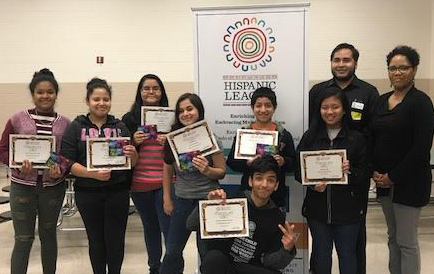 Middle School Achievers at Southeast Middle School pose for a picture after receiving their shirts, certificates, and gift cards.