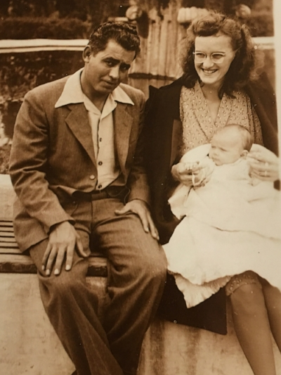 Grandpa Jack and Grandma June holding my mom on one of those annual trips. This one took them to San Juan Capistrano.
