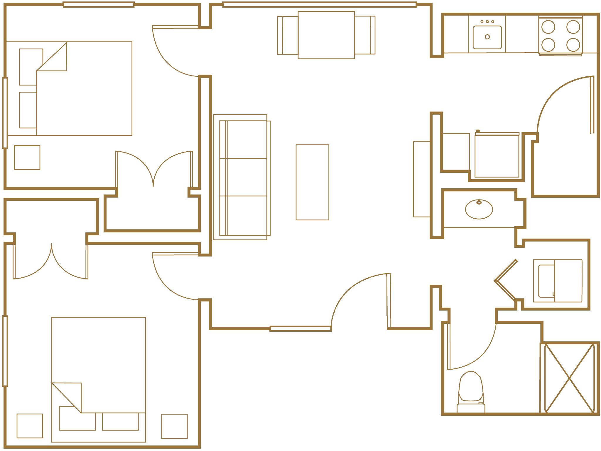 two bedroom one bath floor plan
