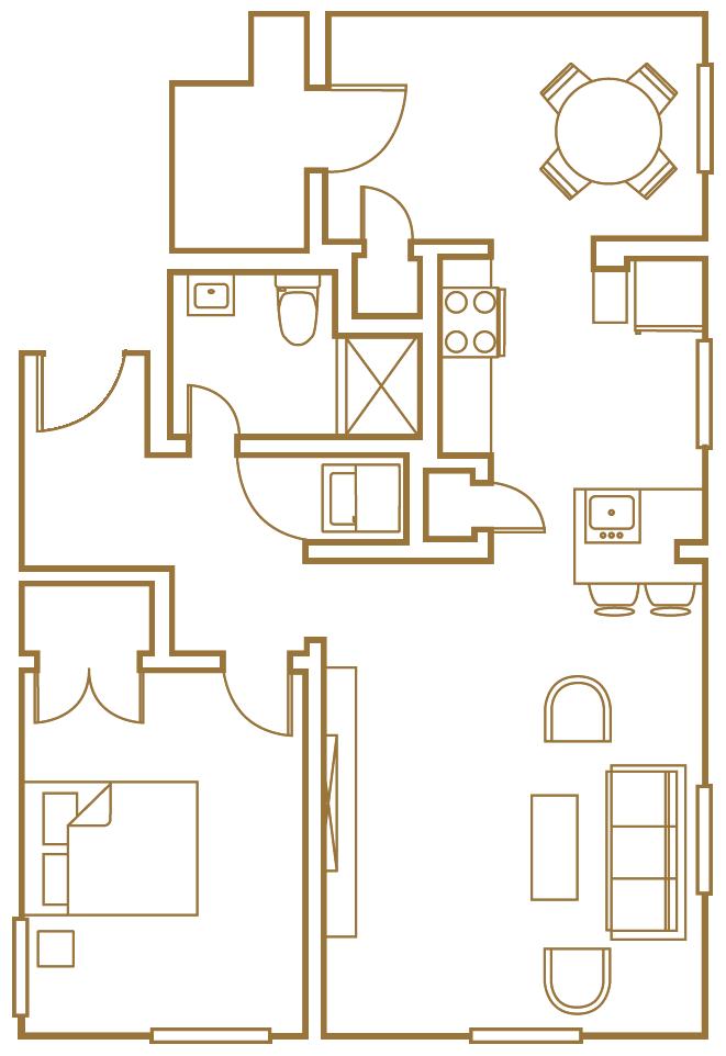 one bedroom one den floor plan