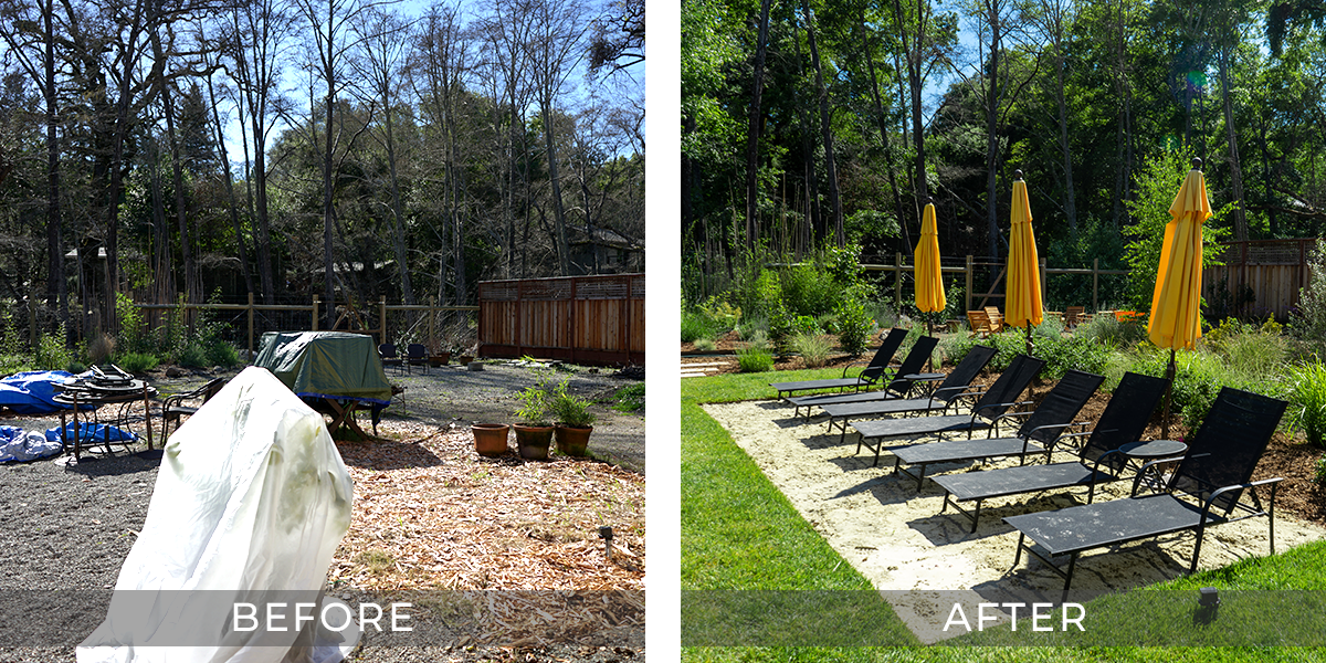 BEACH VIBES  Who needs to wait in traffic to get to your favorite beach when it's right out in the back yard. We've used a combination of plantings and sand to create that quintessential beach vibe right in their backyard.