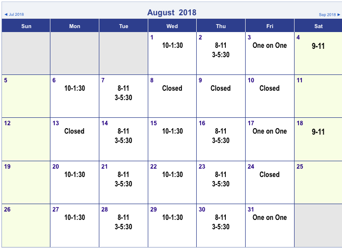 The Calendar is Subject to Change. Please Call or Email us at 630-495-1529 EssenceQLC@gmail.com to Schedule!