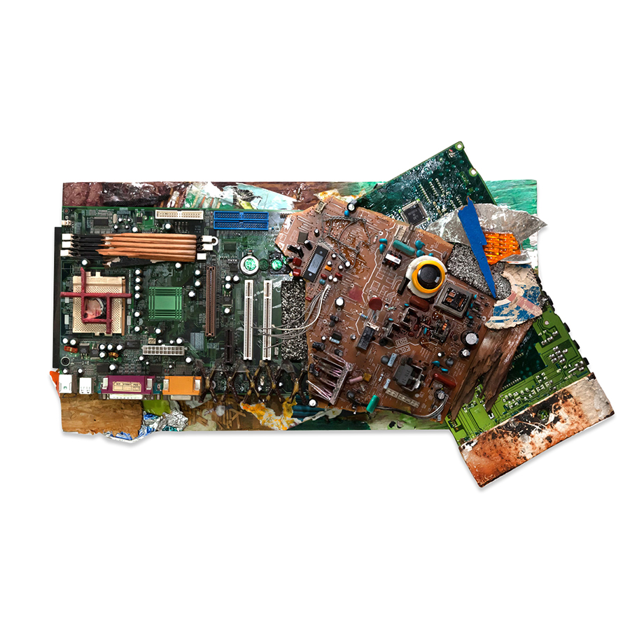 COMPUTERIZED 2014 Found objects/mixed media collage 15 x 24 in