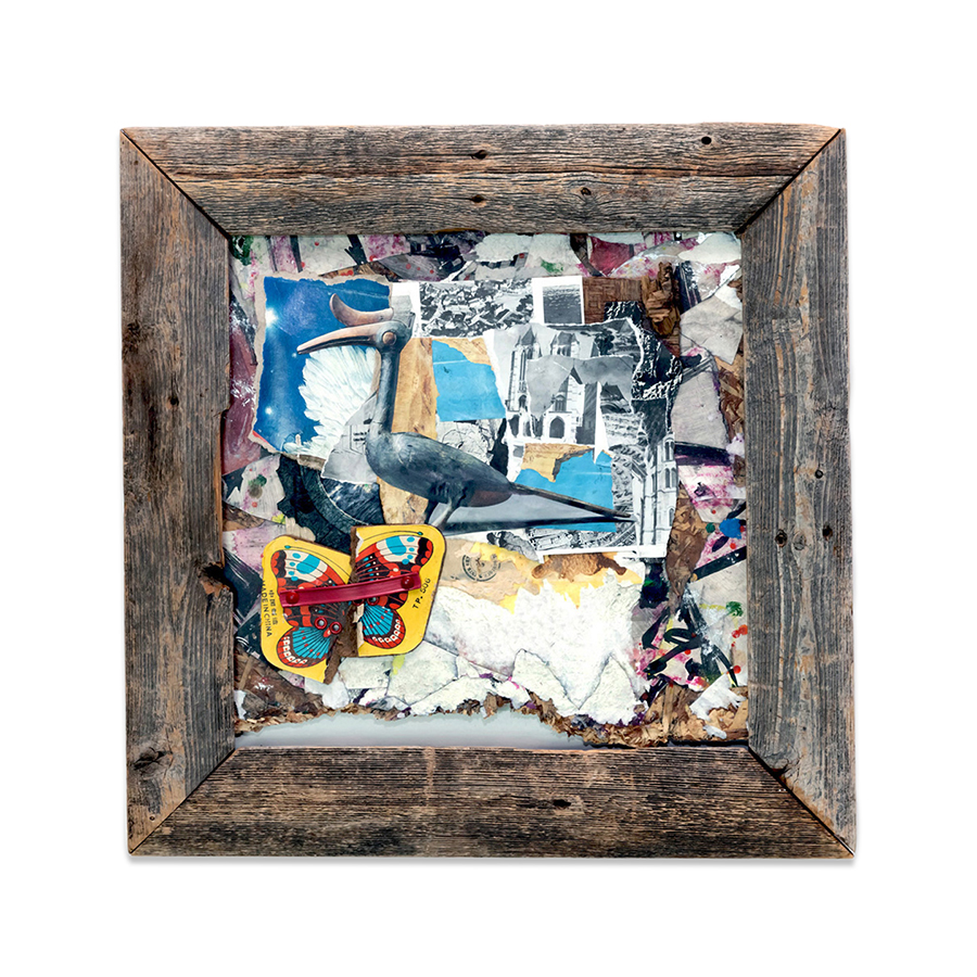 AFLUTTER 2014 found objects/mixed media collage 16.5 x 16.5 in