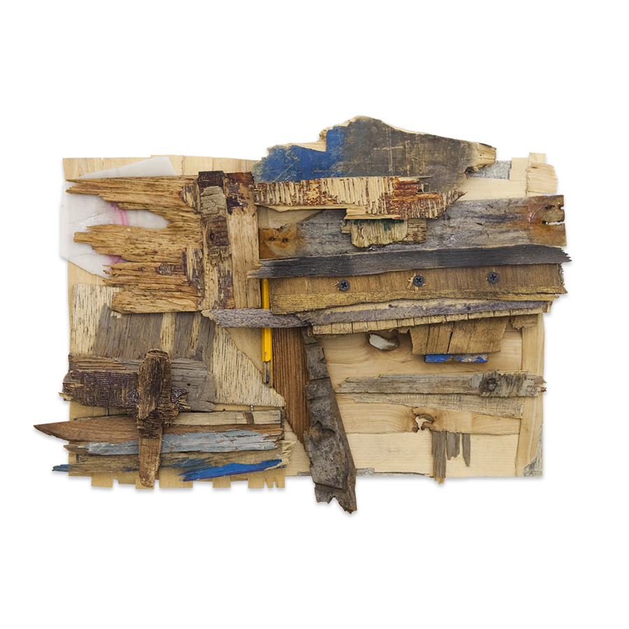 WOODWORK 2 2013 found wood, graphite and plastic 13 x 16 in