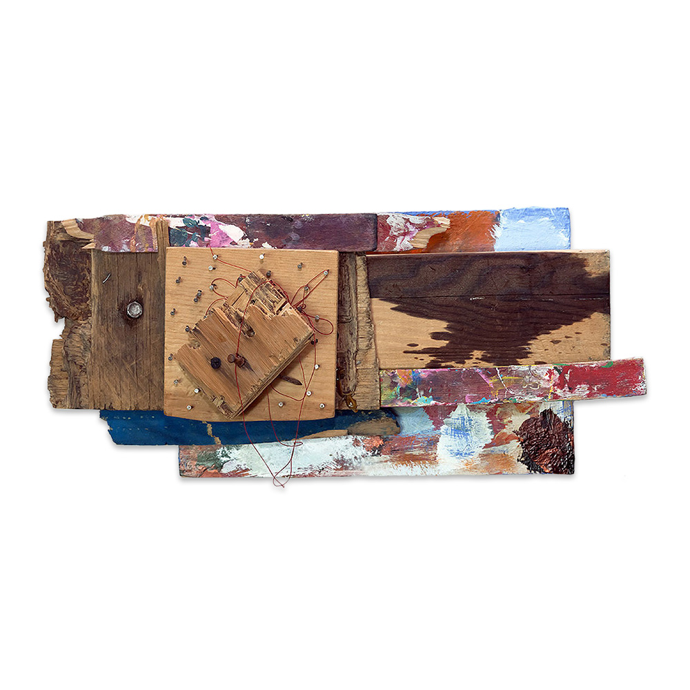 HEATHER'S PALETTE 2014 found objects/mixed media collage 9 x 15 x 5 in