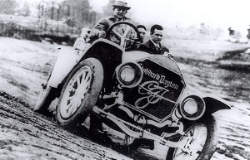 Carl Fisher christening the Indianapolis Speedway in a Dayton-Stoddard