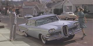 In TRistar picture's,  Peggy Sue Got Married  (1986), a comedy about magical time travel, Kathleen Turner plays a woman who wakes up from a faint in her own teen-age body to relive those years. In one scene she laughs at her sweet silly dad when he proudly brings home a new Edsel. Poor dad. He wasn't laughing.