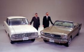The Falcon and the Mustang. with a Fairlane in between, Ford's lineup grows to 5 cars. ( www.ford.media.com )