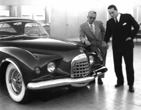 Virgil Exner, and Ghia's Luigi Serge, strike a pose with an Idea Car (source unknown)