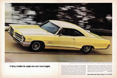 "THE GTO GOT ALL THE PRESS. BUT THE FULL SIZED  1965 PONTIAC 2+2,  WHEN EQUIPED WITH A 421 CID TRI-POWER, WAS ACTUALLY FASTER. AS FOR ITS LOOKS: YOU MIGHT CALL IT ""A RECENTLY RETIRED ATHLETE IN A TUX"" (Pontiac Advert Circa 1965)"
