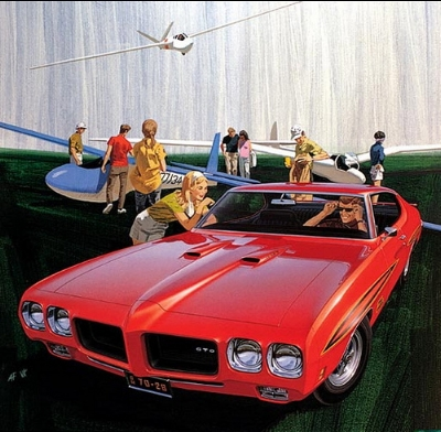 TWO YEARS LATER THE  1970 PONTIAC GTO  LOOKED DELIGHTFULLY SINISTER, EVEN THOUGH IT WASNT AS SEXY AS THE '68. ( www.Fitz-Art.com ) (used with permission)