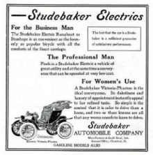 Powered by horses for over 50 years, Now, at the turn of the century, Studebaker was now investing in all 3 of the alternative power sources. Its biggest bet early on was electric