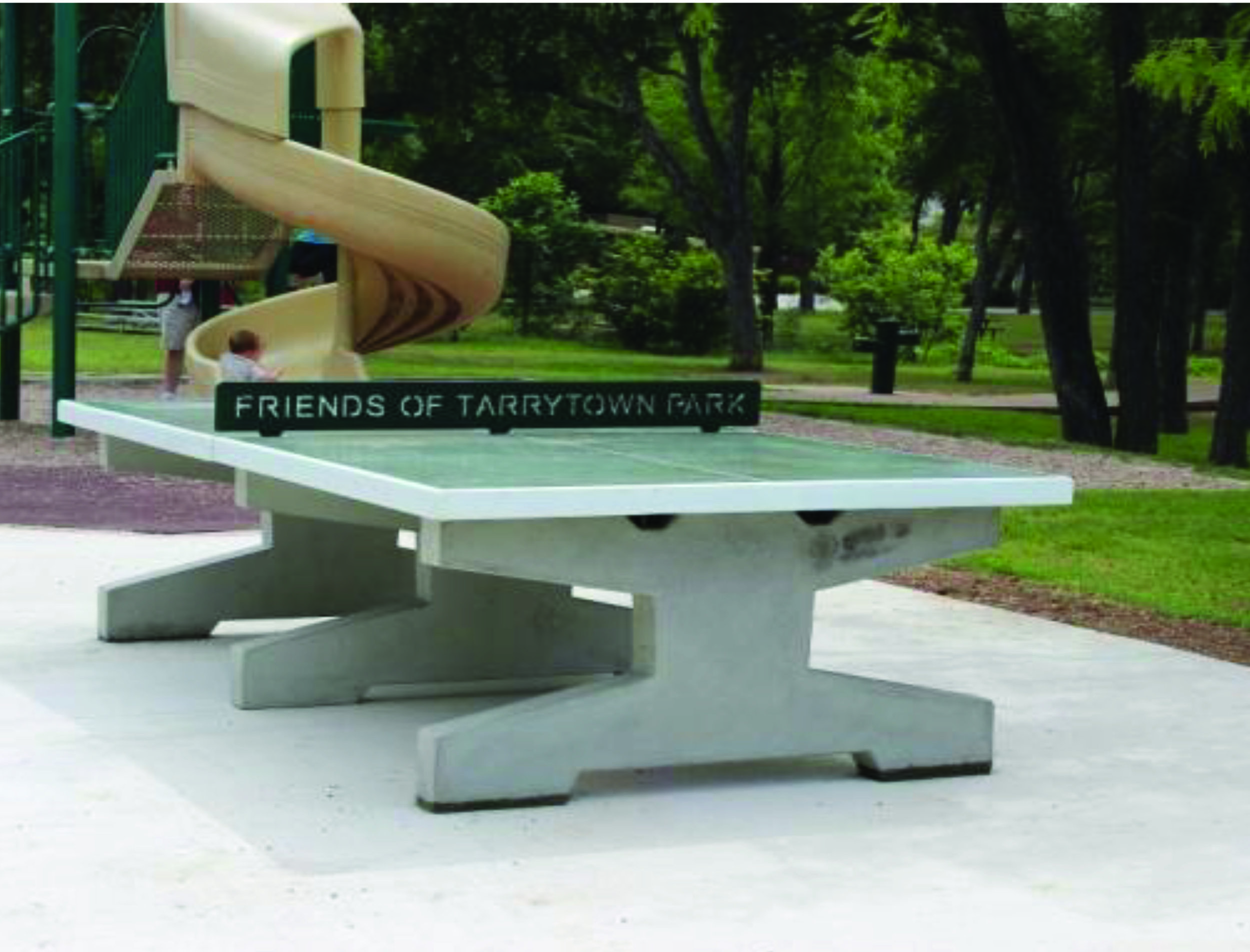 Example of an outdoor ping pong table.