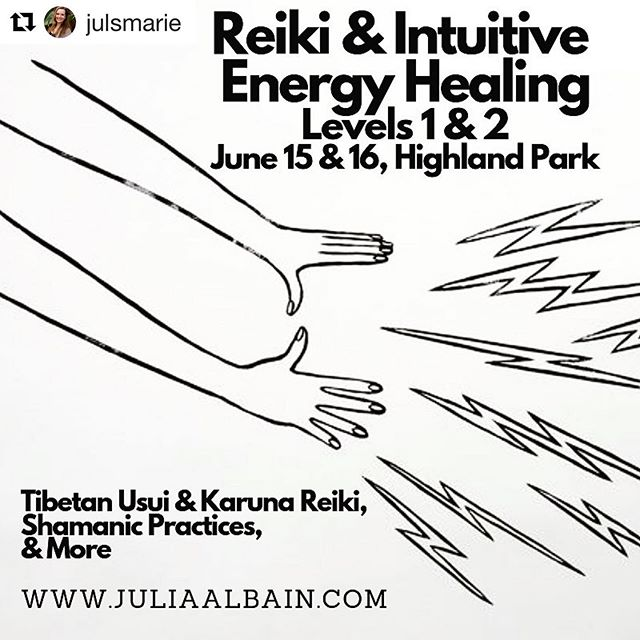 #Repost @julsmarie with @get_repost ・・・ COMING UP! Kick off summer with some magic & mischief! Reiki & Energy Healing can be playful & fun, and deeply transformative. Learn about your energy system and how it interacts with the worlds around you, and how you can begin harnessing this power for help, healing, and change ✨ Includes 1st & 2nd degree Usui Tibetan & Karuna Attunements + additional techniques and teachings! Reach out for more info & to book! Space is limited. #reiki #reiki1 #reiki2 #energyhealing