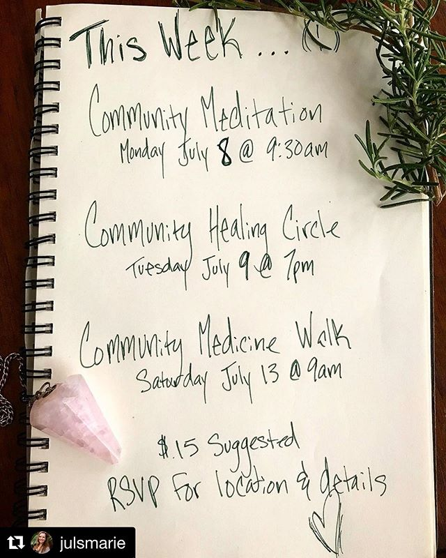@julsmarie has plenty of opportunities to drop into community & connect this week...check it out! All new offerings happening in Highland Park ✨  #Repost @julsmarie with @get_repost ・・・ THIS WEEK// Come connect & explore with lovely humans just like you 🌟 Monday Community Meditation: Every Monday @ 9:30am... come circle up & drop in, no experience necessary. We'll start the week off in connection & stillness/// Community Healing Circle: Tuesday 7/9 @ 7pm Open to anyone who has studied or practiced any form of energy work or shamanic practice... we'll connect, share, offer some healing, and set intentions for weaving these practices into our daily lives/// Community Medicine Walk: Saturday 7/13 @ 9am. A Medicine Walk is a practice of moving in nature with the intention of opening up to receive guidance or wisdom that we've been missing. A chance to connect deeply with the land, so that we can connect deeply with ourselves and others. No experience necessary.  All offerings are $15 suggested donation. RSVP for location and full details. See you this week! ✨❤️#mindfulness #energyhealing #community #soulconnection