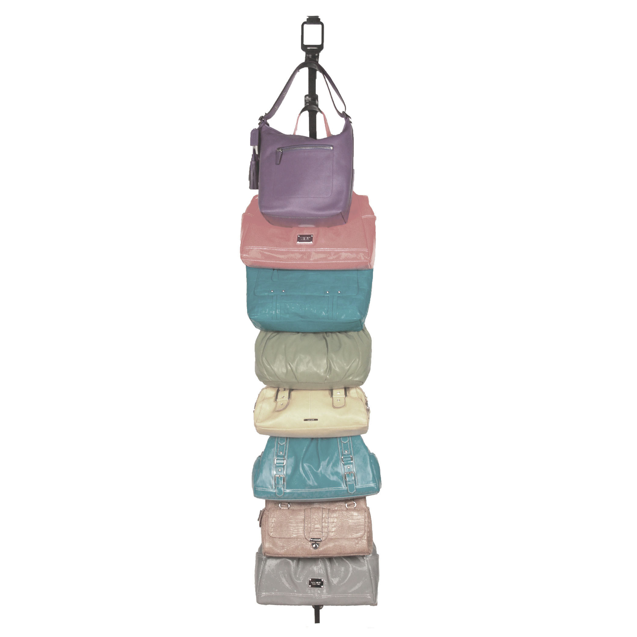PurseStor Item #13908 - Eight patented contoured hooks to safely hold purses up to 10 pounds by their handles, preventing creases and stress. Mounts on the wall or a door.Dimensions: 2.76