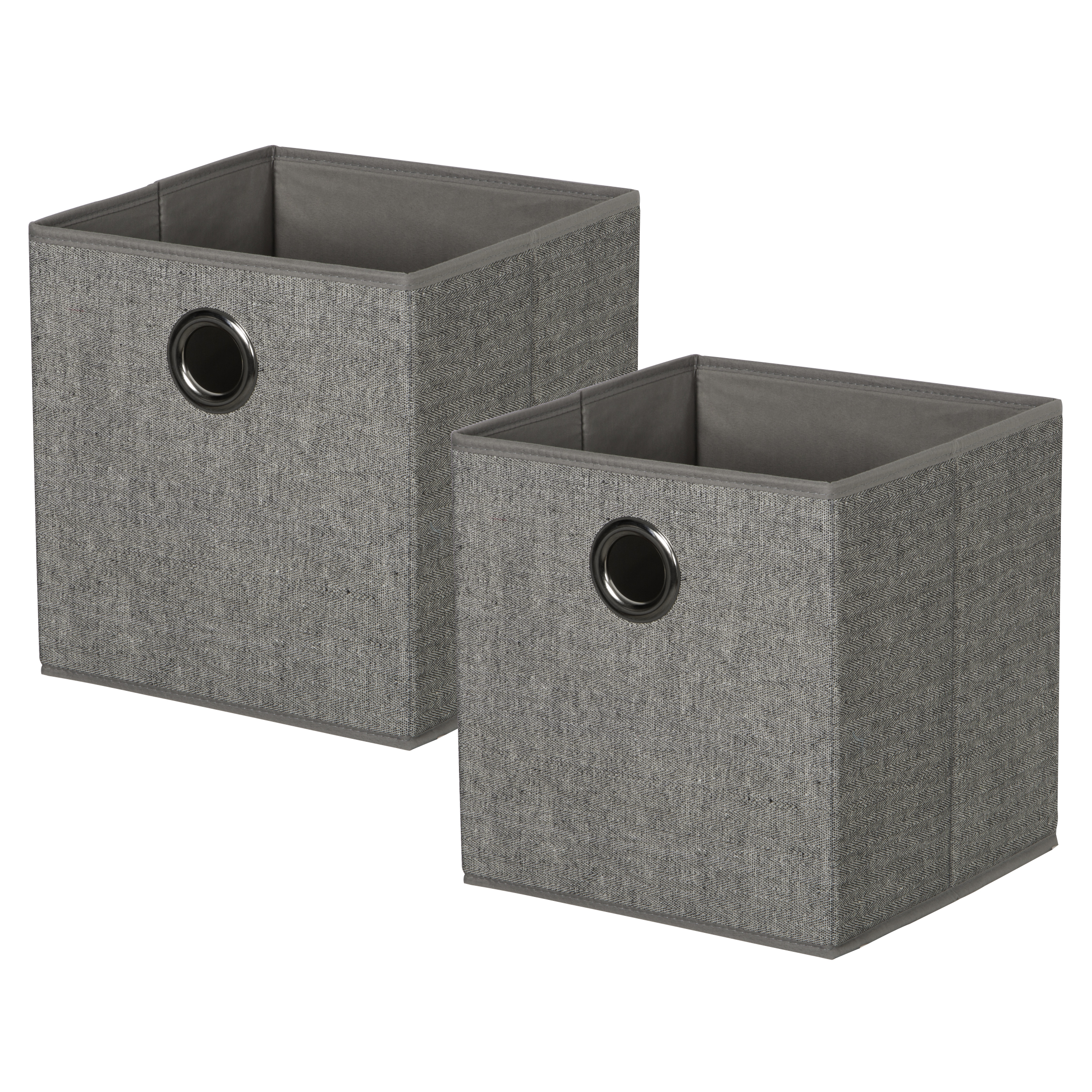 Set of 2 KD Cubes - GreyItem #86101022 - Arrow weave KD cubes with metal grommet handles. Fold flat when not in use.Dimensions: 11