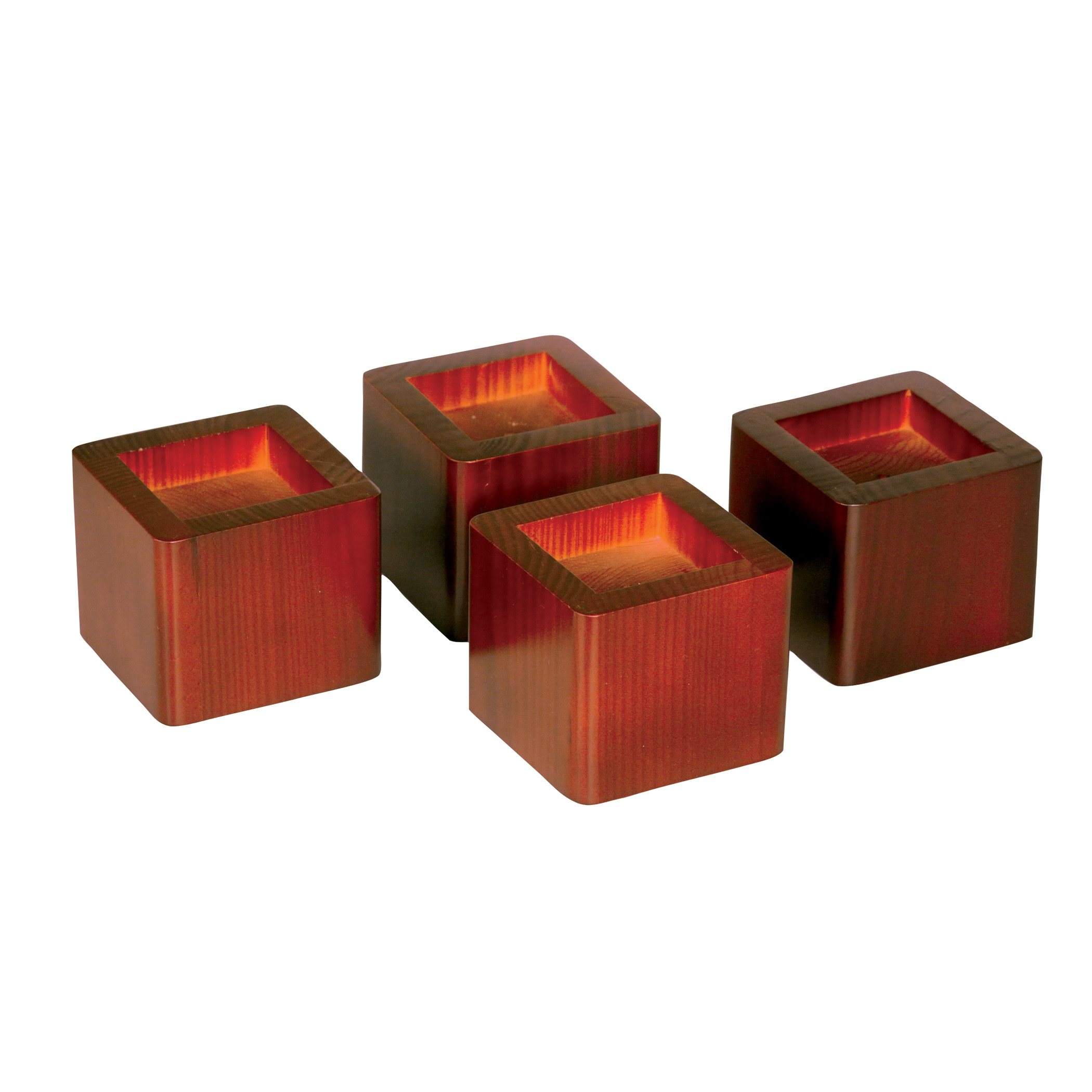 Set of 4 Bed Risers - MahoganyItem #5980-4 - Stackable with the purchase of two complete sets to hold a bed weight of up to 500 lbs. Raises the bed up to 6.25