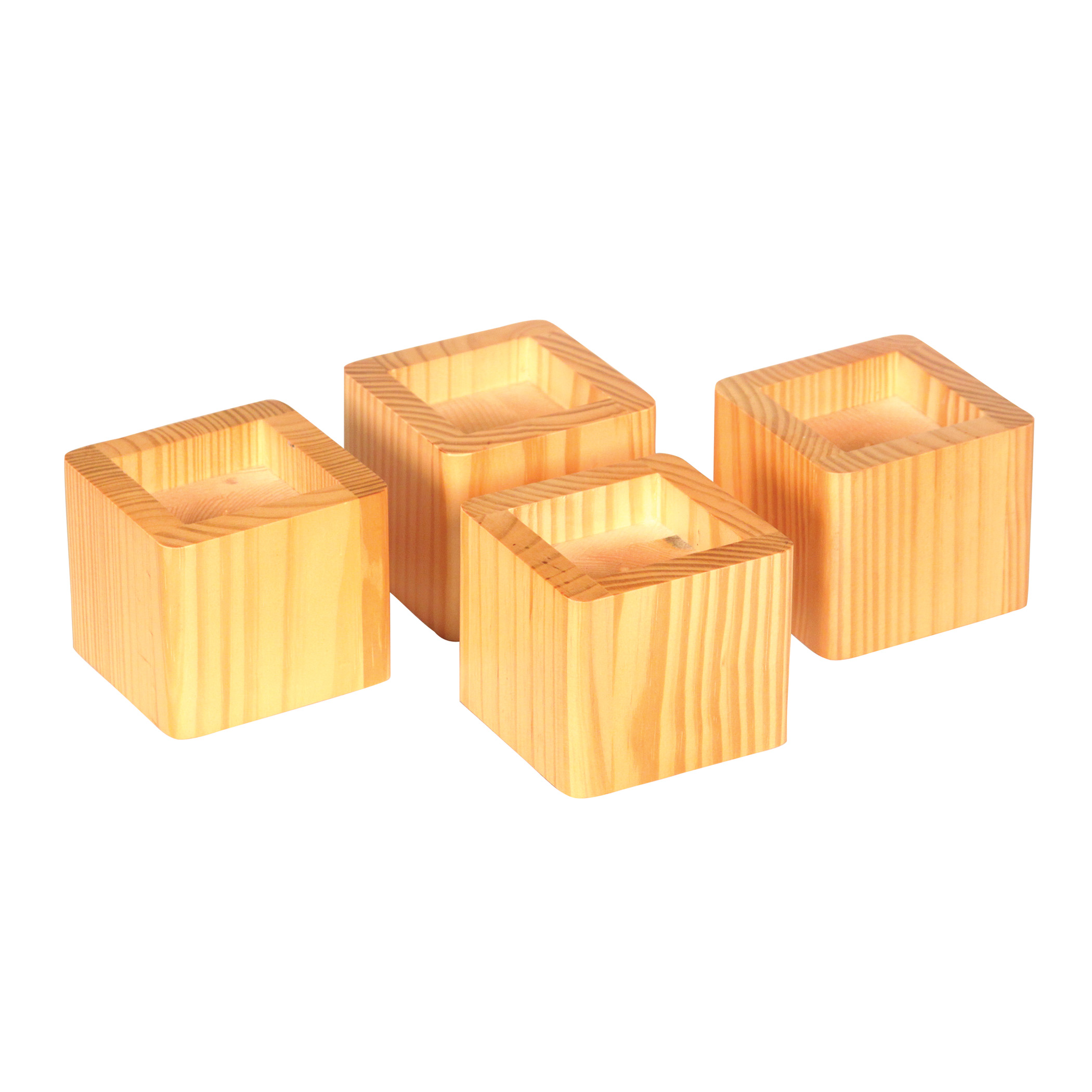 Set of 4 Bed Risers - HoneyItem #6080-4 - Stackable with the purchase of two complete sets to hold a bed weight of up to 500 lbs. Raises the bed up to 6.25