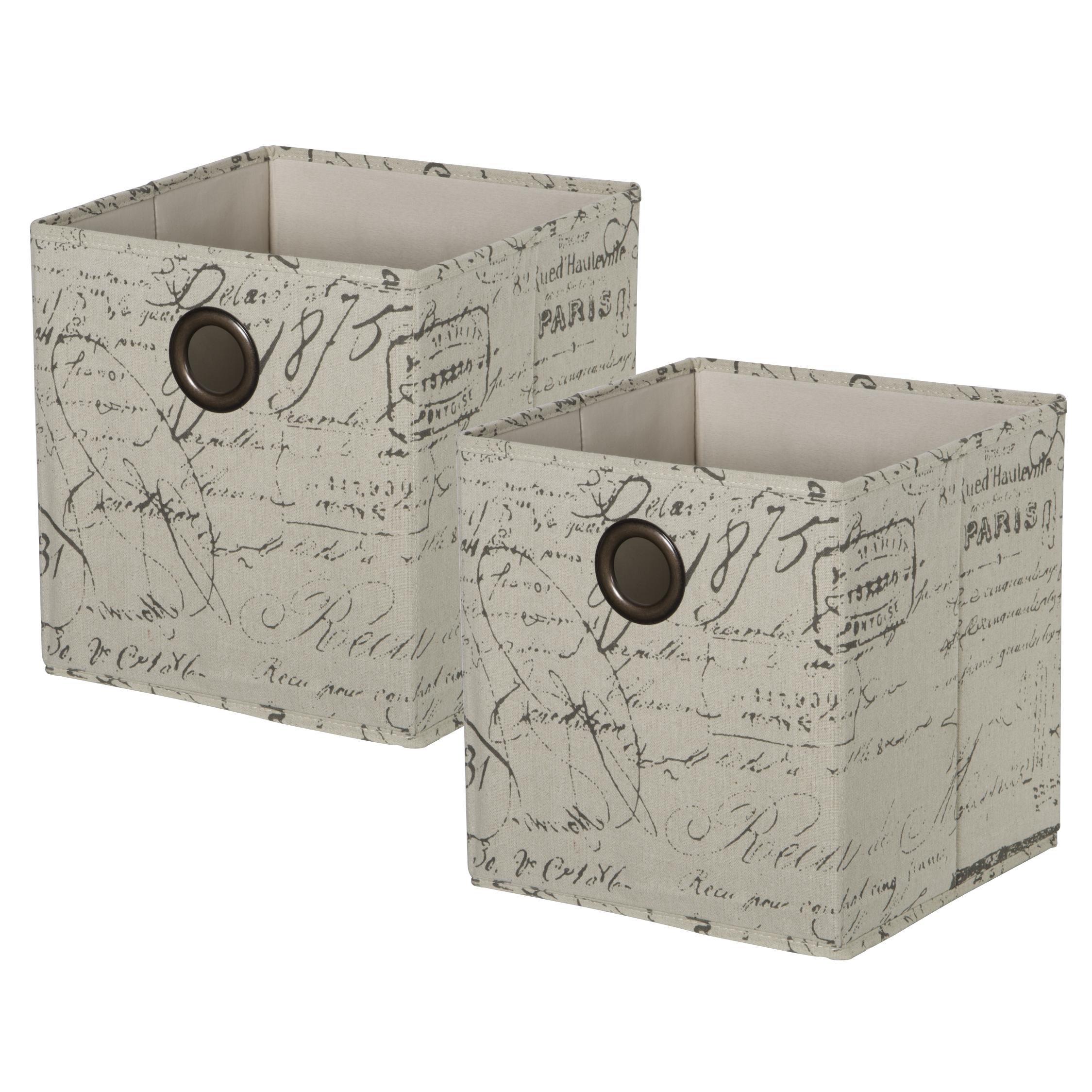 Set of 2 KD Cubes - ScriptItem #86101002 - Script KD cubes with metal grommet handles. Fold flat when not in use.Dimensions: 11