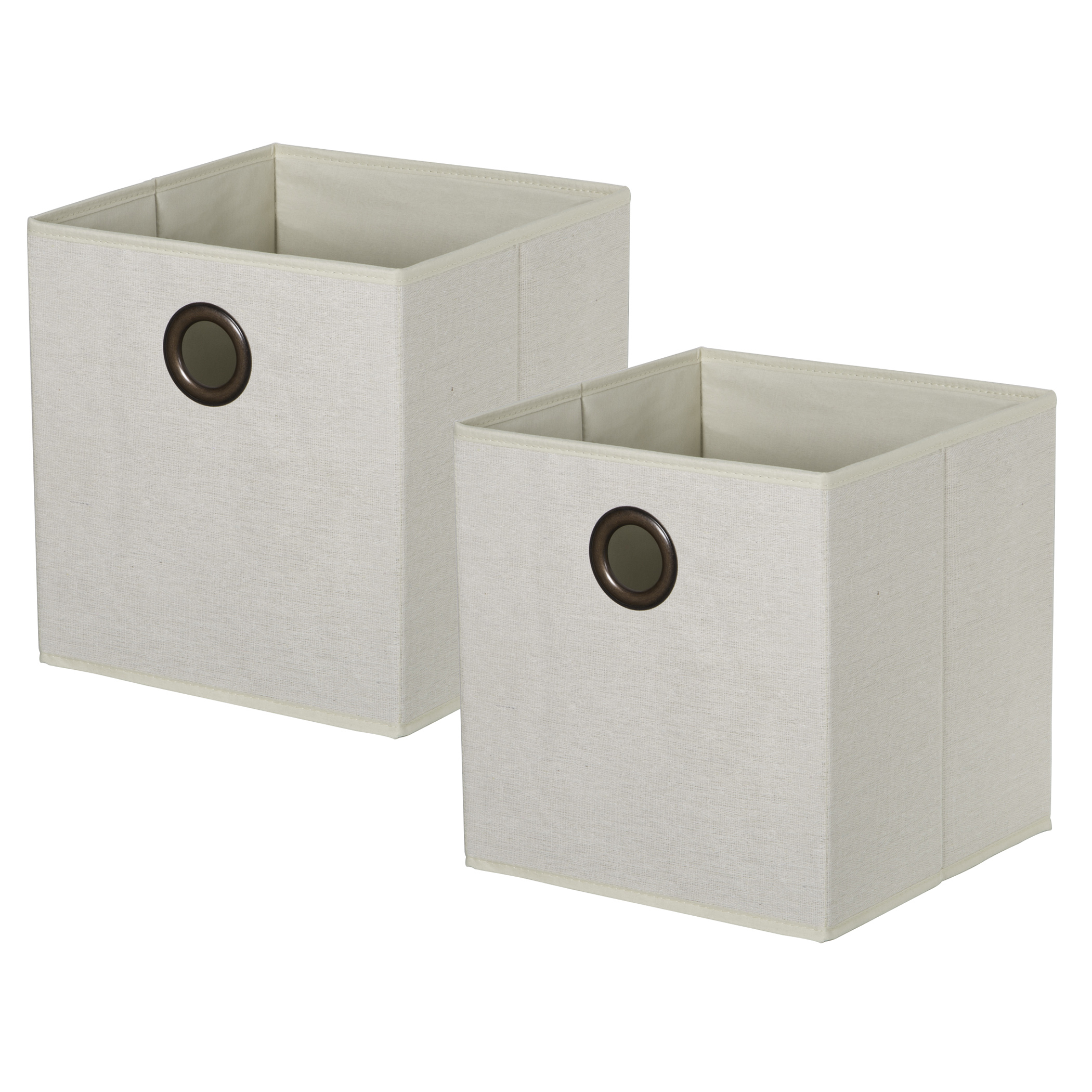 Set of 2 KD Cubes - NaturalItem #86101032 - Natural arrow weave KD cubes with metal grommet handles. Fold flat when not in use.Dimensions: 11