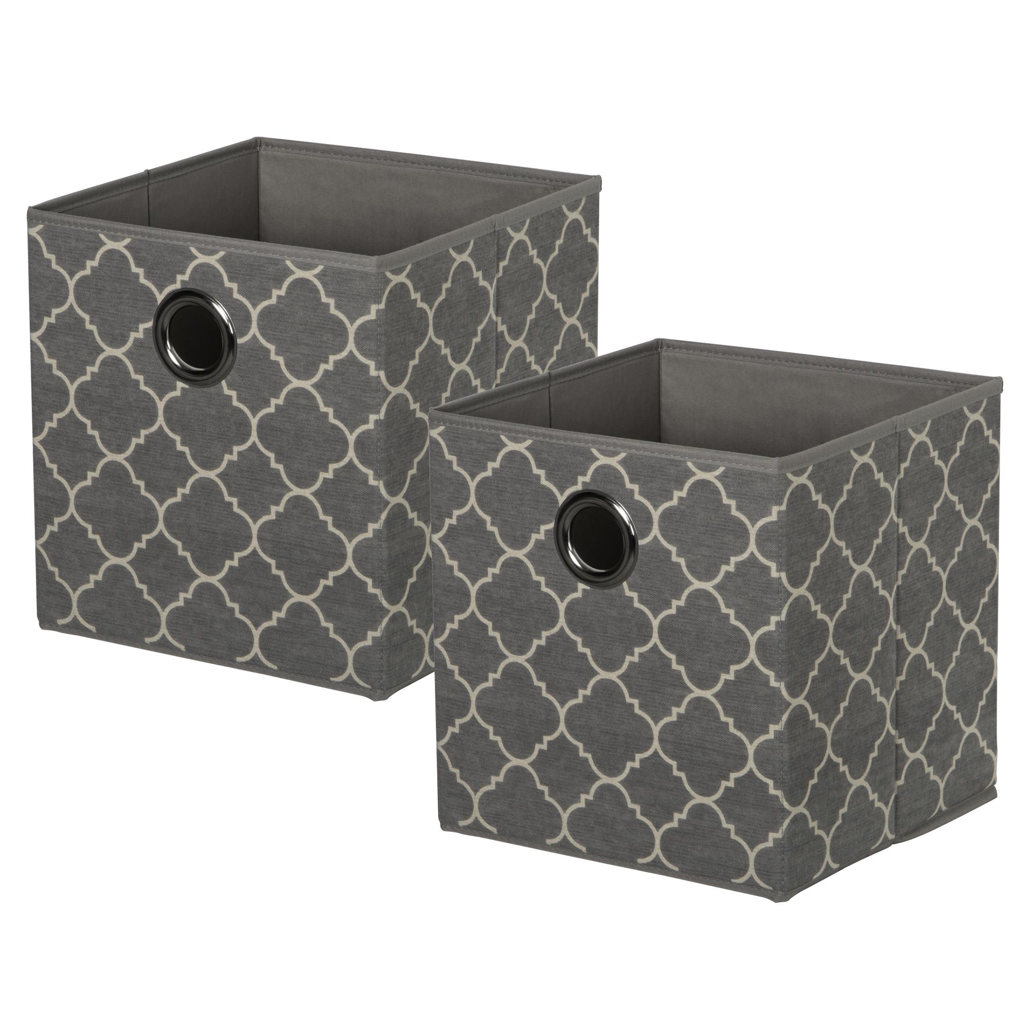 Set of 2 KD Cubes - QuatrefoilItem #86101052 - Quatrefoil KD cubes with metal grommet handles. Fold flat when not in use.Dimensions: 11