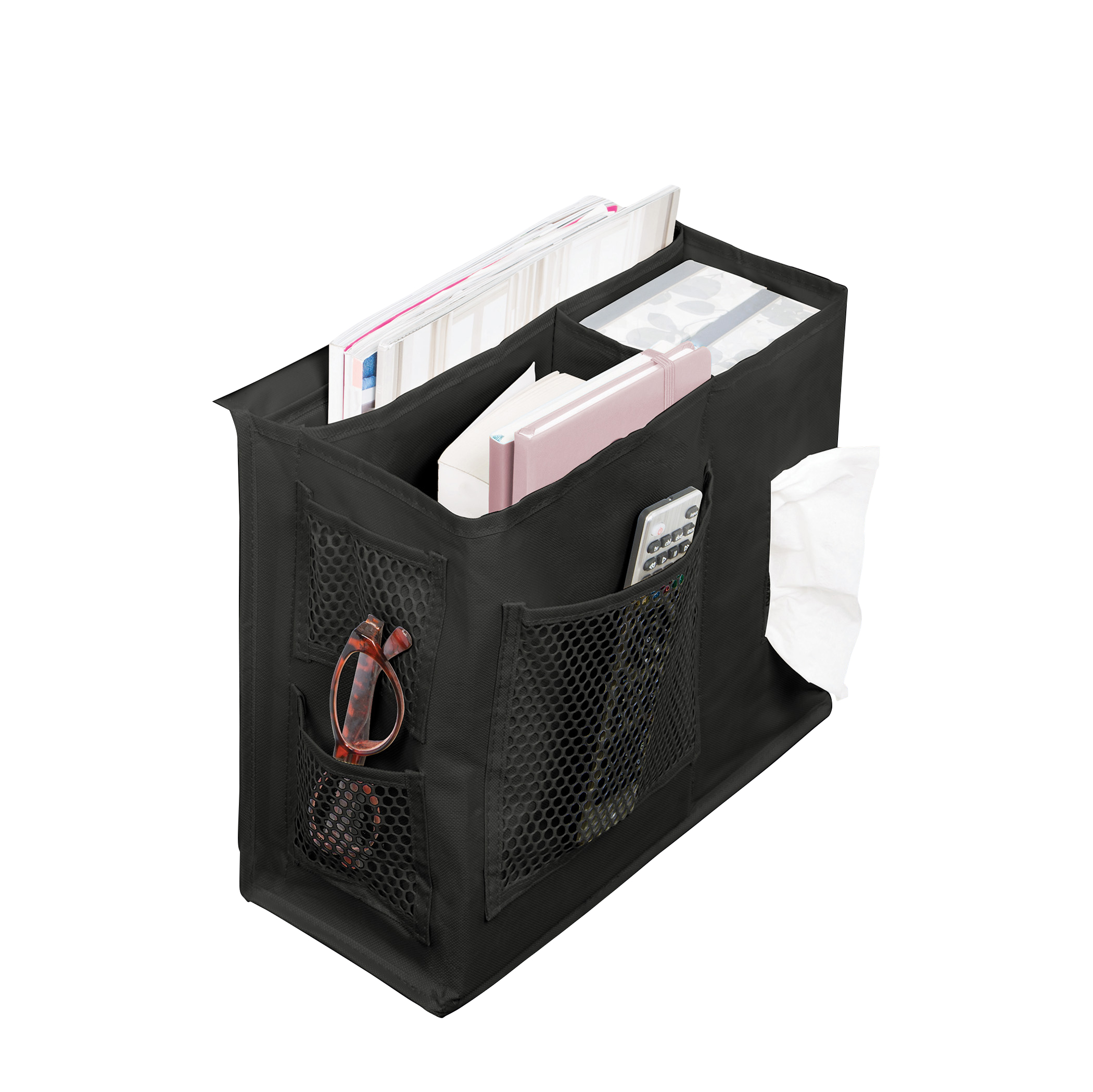 Black Bedside CaddyItem #65943 - Organize books, iPads, laptops, phones and study materials. Made of 600D material with PE backing.Dimensions: 12.5