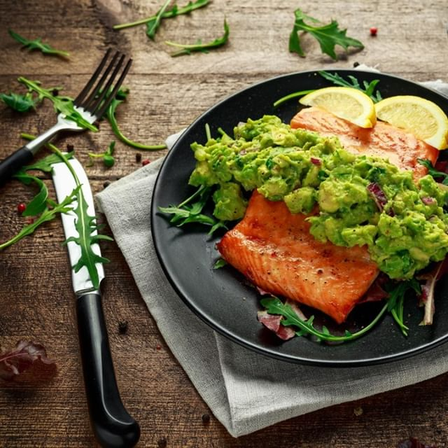 Oven cooked salmon steak with avocado salsa #fitness12retreats #health #happiness #nutrition #food #wellbeing #wellness #diet #life #healthy #fitness #retreats #travel