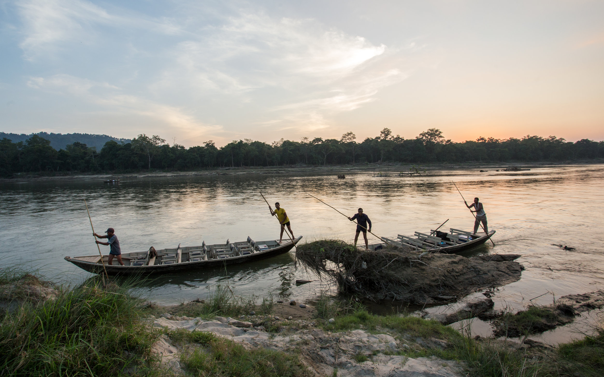Boat owners going home for the evening, Chitwan National Park