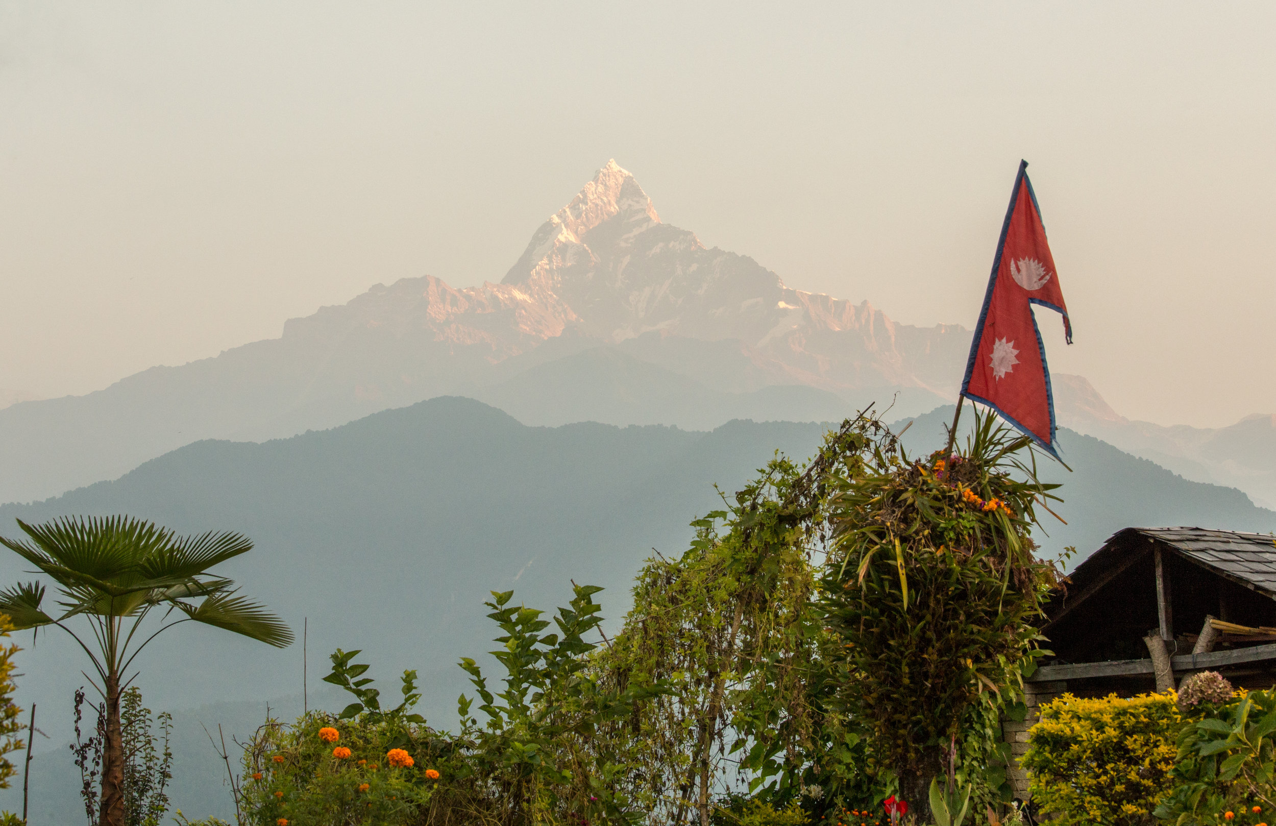 Fishtail peak in the Annapurna Region of the Himalayas. The only peak people are not allowed to climb.