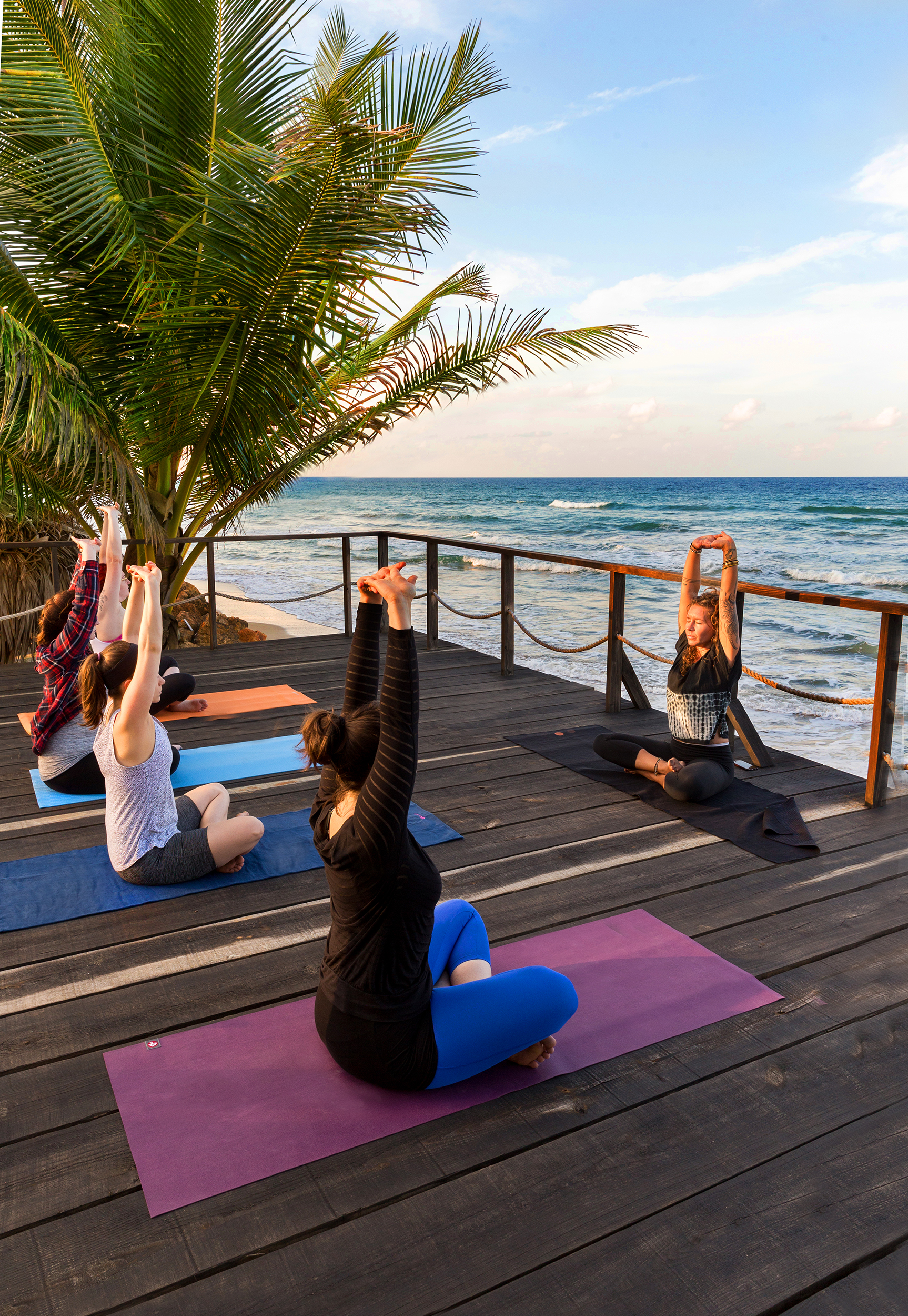 Leading yoga ocean front
