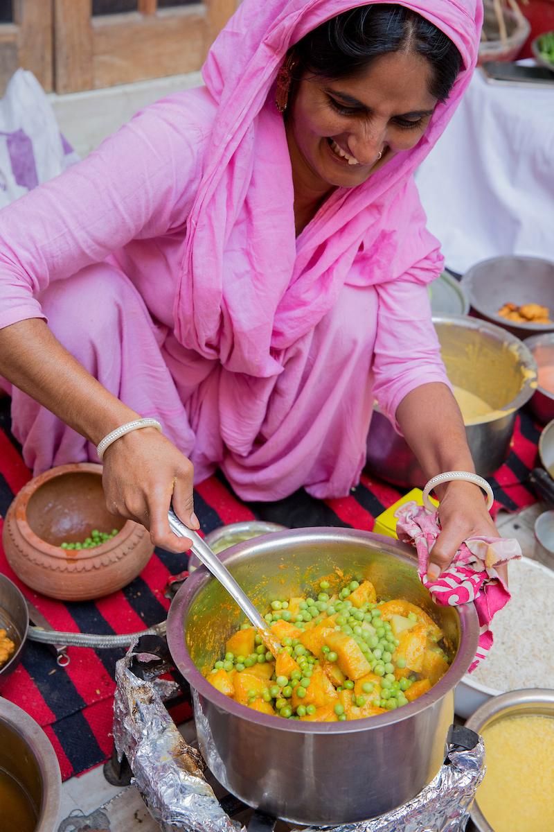 Cooking a lot of our own food in India.