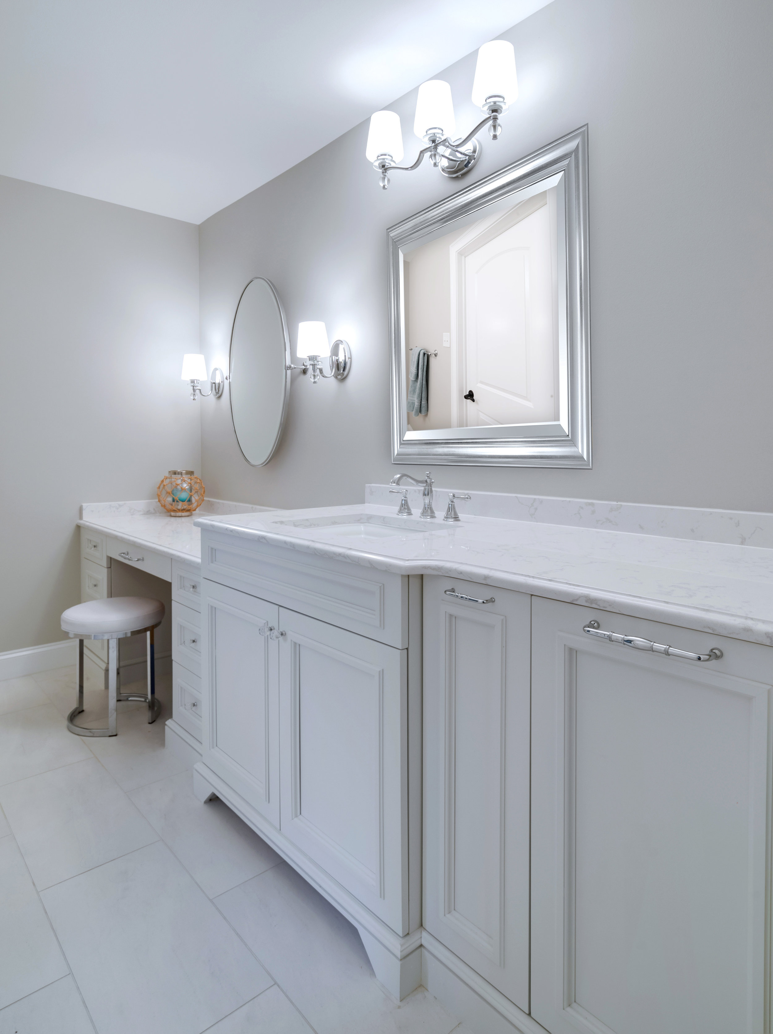 Vanity with seating area