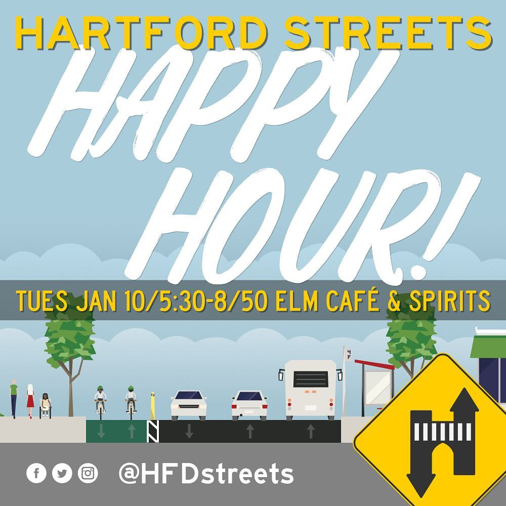 Social card I created for a happy hour of safer streets advocates in Hartford, CT.