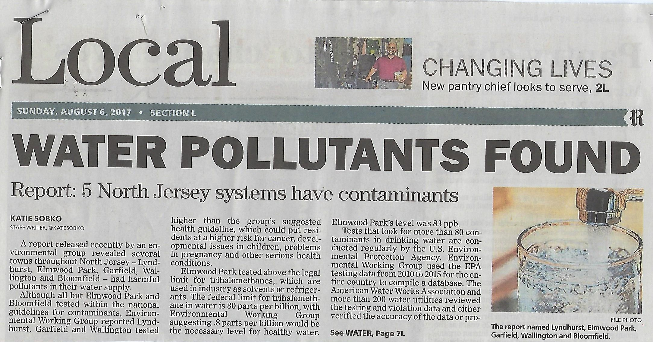 Local Area Water Pollutants from The Record snip of the article : Read more :    https://www.northjersey.com/story/news/bergen/2017/08/04/unhealthy-but-legal-water-found/530448001/