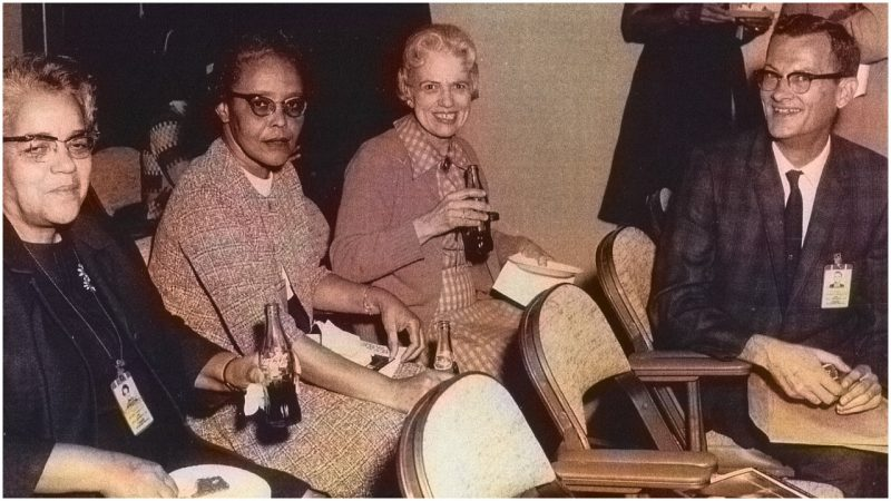 Dorothy Vaughan, Mary Jackson and Katherine Johnson with colleague  Image Courtesy:  The Vintage News