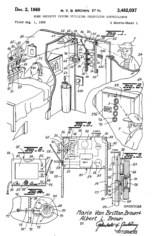 System invented by Marie Van Brittan Brown and her electrician husband Albert