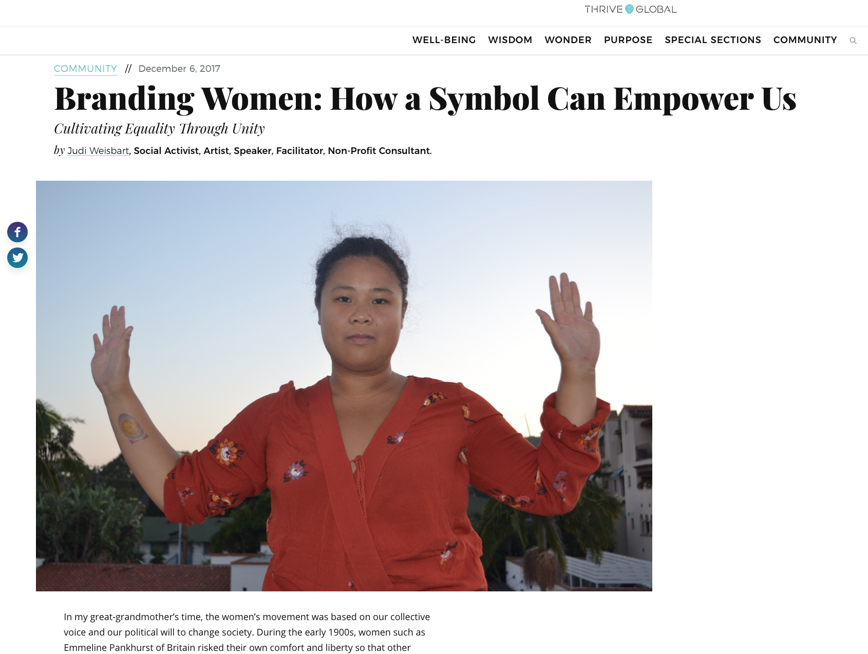 THRIVE GLOBAL                                                      View Article: https://www.thriveglobal.com/stories/18280-branding-women-how-a-symbol-can-empower-us