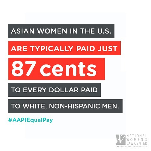 "Today is #AAPIEqualPay Day, the day into 2018 that Asian American and Pacific Islander women would need to work in order to earn the same that white men earned in 2017.  AAPI women earn 87 cents for every dollar a white man earns. But this doesn't tell the full story... There are wide wage disparities among the diverse ethnic and gender identities that fall under the AAPI acronym. The wage gap is much worse for many communities of Asian women.  For more on #AAPIEqualPay Day (the first of many ""equal pay days"" in 2018), check out this great resource from National Women's Law Center. #NotYourModelMinority  Repost @WomensMarch"