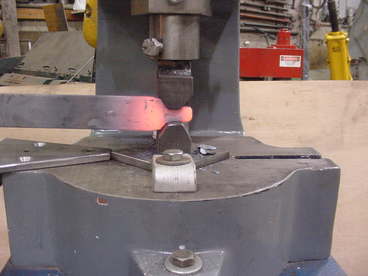 This is an example of how the fly press can be used for stock reduction just like a power hammer.