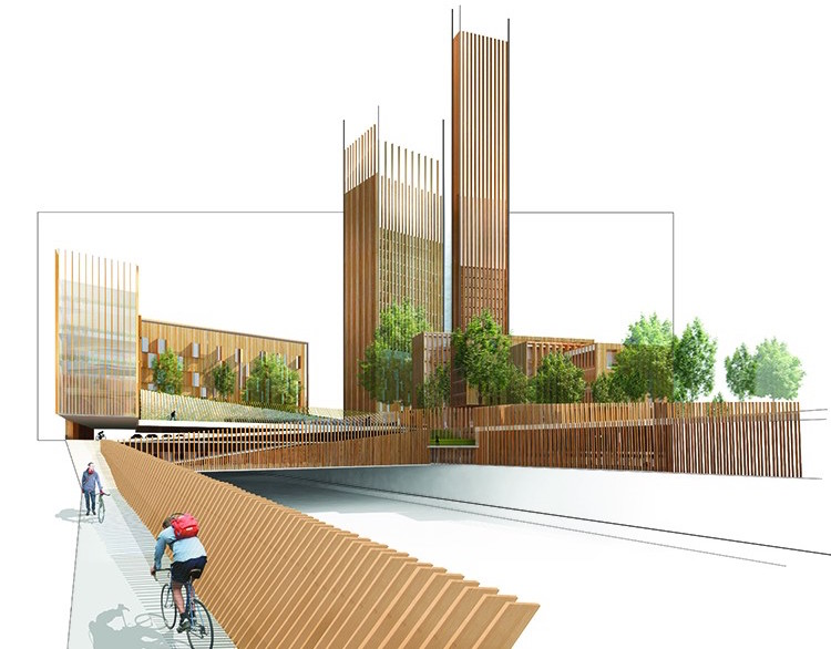 PARIS, FRANCE  / Baobab  Michael Green Architecture (MGA) and DVVD have teamed up with REI France developments to propose the tallest wood building in Paris. The carbon-neutral proposal, developed as part of the city's innovative Réinventer Paris competition, aims to alleviate the city's urban housing challenges.   Michael Green Architecture (MGA) and DVVD (Image courtesy of Michael Green Architecture (MGA)