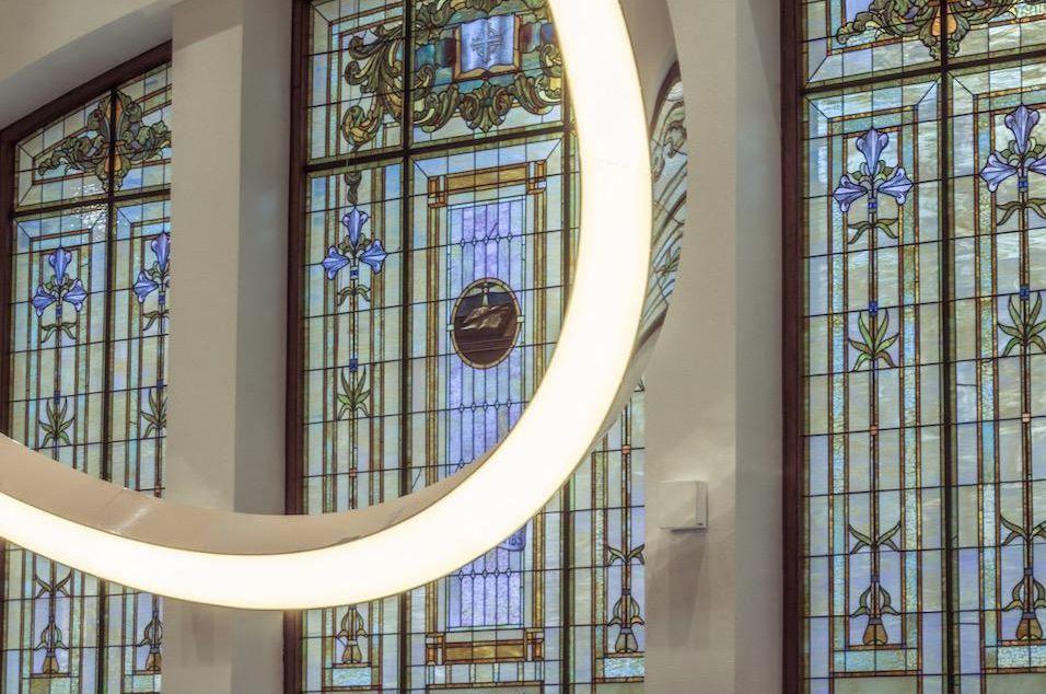 Stained glass and the halo. (Photo by Daniels Real Estate)