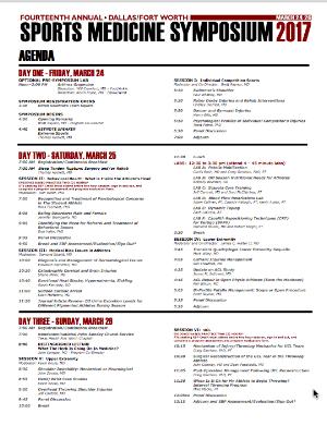 DFW Sports Medicine Symposium 2017 Agenda