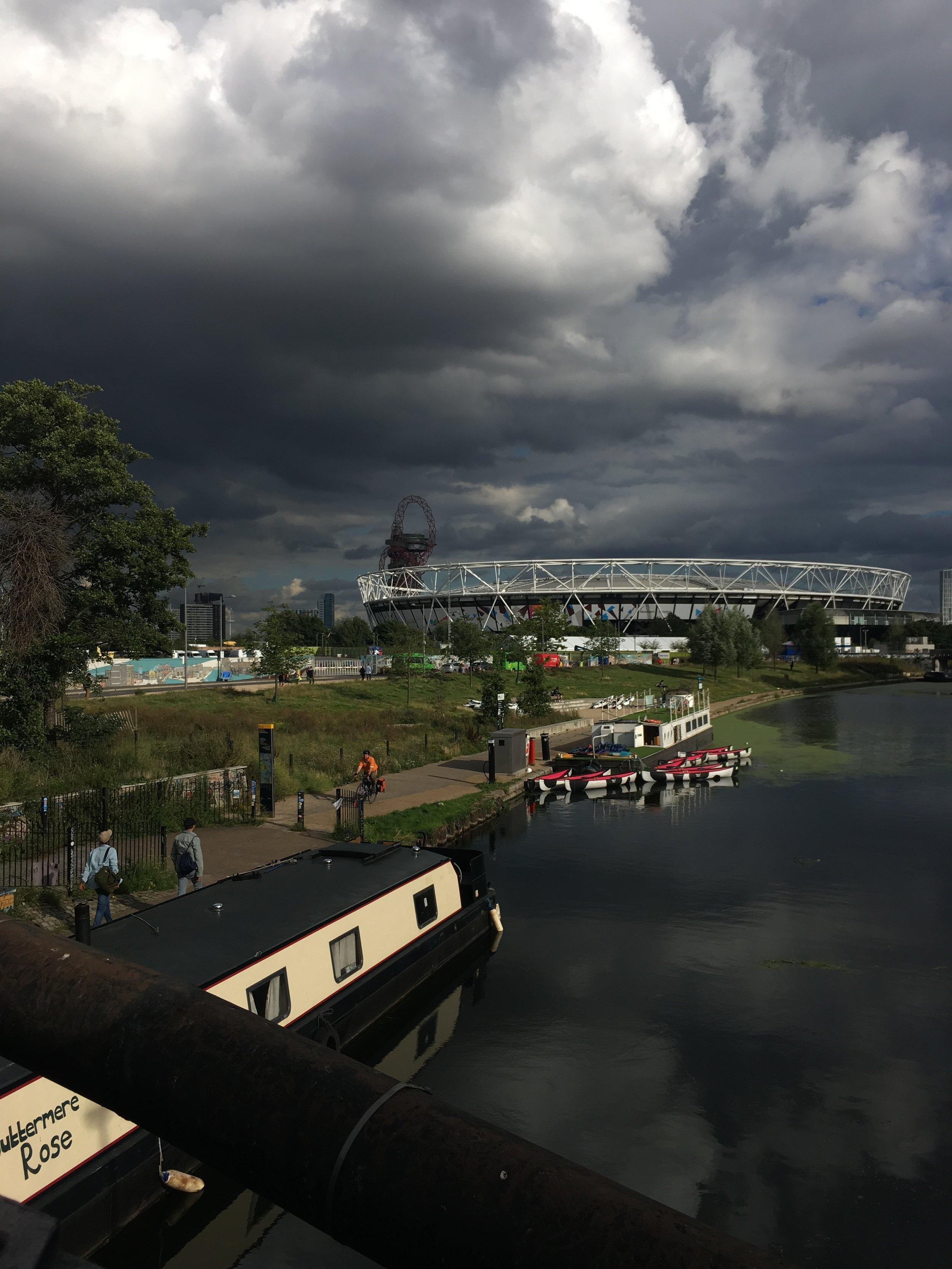 Moody sky over London Stadium but it didn't rain